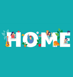Stay at home concept design different types of vector
