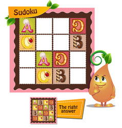Sudoku game letters alphabet vector