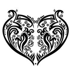 Swirly heart tattoo inspired vector