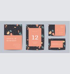 terrazzo wedding invitation card set abstract vector image
