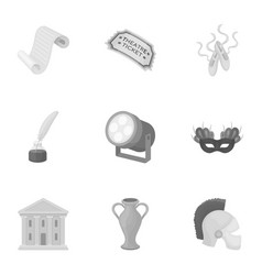 Theater set icons in monochrome style big vector