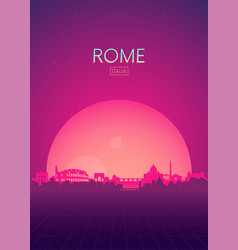 travel poster futuristic retro skyline rome vector image