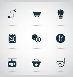Trip icons set with underwater mask exchange vector