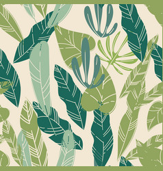 tropical leaves and foliage floral pattern vector image