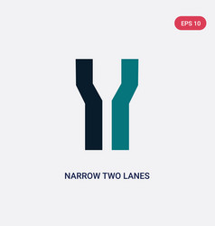 Two color narrow two lanes icon from maps and vector