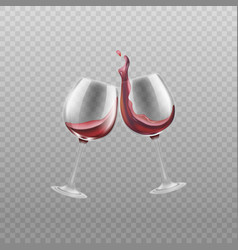 two wine glasses with red splashing wine realistic vector image