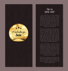 Up to 50 off holidays sale golden sticker round vector
