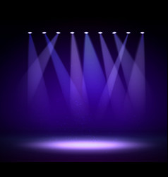 Various stage lights in dark spotlight on vector