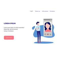 video chat concept at web page template - man vector image