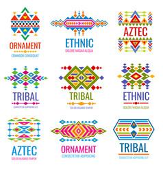 vintage american indian logo set business vector image