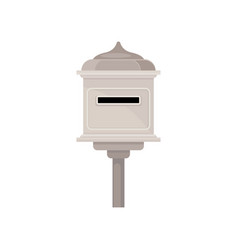 vintage metal mailbox on pole outdoor postbox vector image