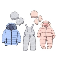 Winter clothes for baby vector