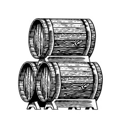 wooden barrel with alcohol vessel with wine vector image