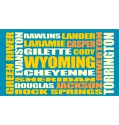 Wyoming state cities list vector image