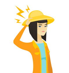 young asian farmer with lightning over her head vector image