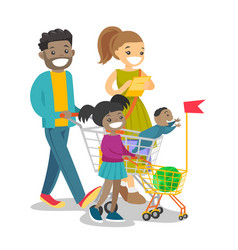 Young multicultural family with kids shopping vector