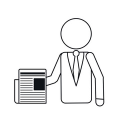business man document work office outline vector image vector image