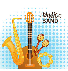 music band instruments set banner musical concert vector image vector image