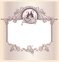 vintage wedding frame with bird vector image