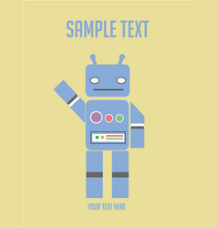 cartoon character vintage cute blue robot vector image