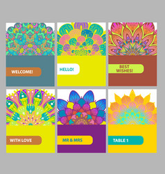 collection of color cards with vintage decorative vector image vector image