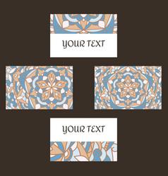 decorative floral business cards mandala vector image