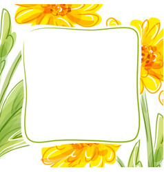 floral background with yellow flowers vector image