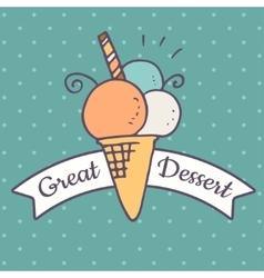 Ice cream doodle icon vector image