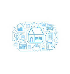 Real estate home outline icon concept vector image vector image