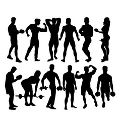 bodybuilder activity silhouettes vector image vector image