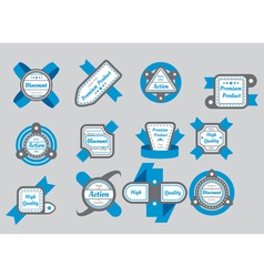 collection of gray seals with blue ribbons vector image
