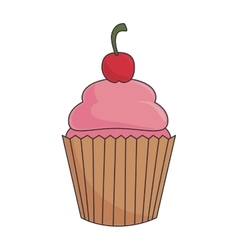 cupcake dessert strawberry vector image