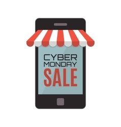Cyber Monday sale Mobile phone isolated on white vector image