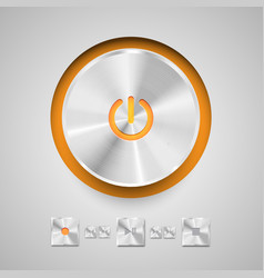 detailed round power button for media player vector image