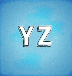 Doodle Style Hand Drawn Alphabet Y-Z vector image vector image