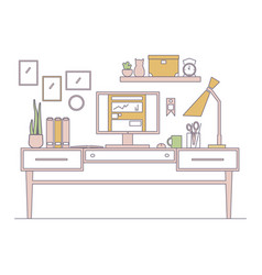 line workplace in flat style interior vector image vector image