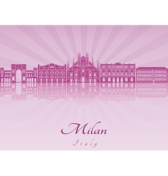 Milan skyline in purple radiant orchid vector image vector image