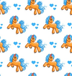 Seamless pattern with cute cartoon little horse vector