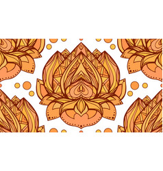 seamless pattern with gold yellow lotus element vector image vector image