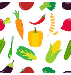 vegetables pattern flat set of carrot laminaria vector image vector image