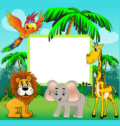 background with giraffe elephant lion and parrot vector image vector image