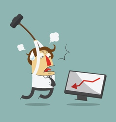 Furious frustrated businessman hitting computer vector image vector image
