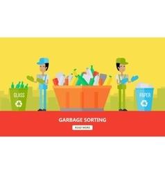 Garbage sorting banner men sort glass and paper vector