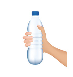 hand holding a water bottle vector image vector image