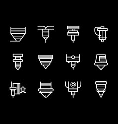 Laser processing machines white line icons vector