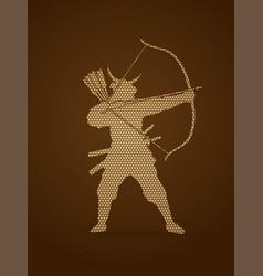 Samurai warrior with bow bowman archer fighter vector