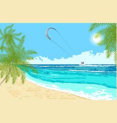 seaside landscape with sea kite vector image