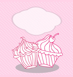 vintage greeting card template with cupcake for vector image