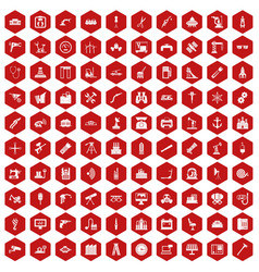 100 equipment icons hexagon red vector