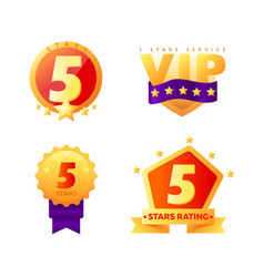 5 stars rating vip service tags isolated on white vector